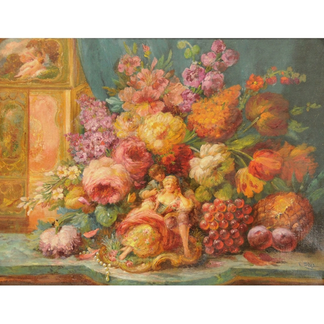 Oil Painting Yellow Flower Classic Still Life For Sale