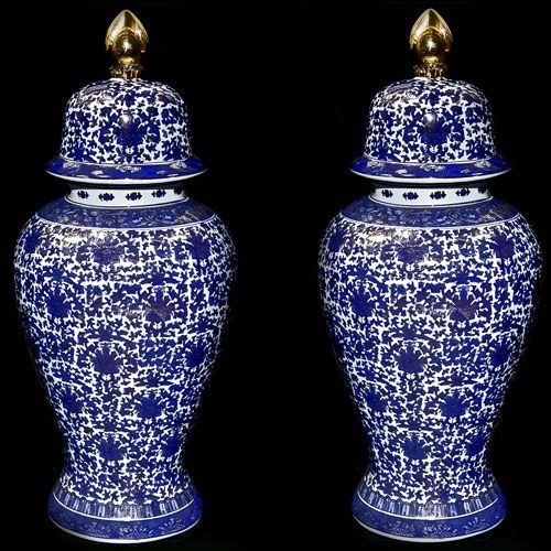 a wonderful large pair of 20th c decorative chinese temple urns having excellent bluewhite floral geometric decoration with gold colored painted accents - Decorative Urns
