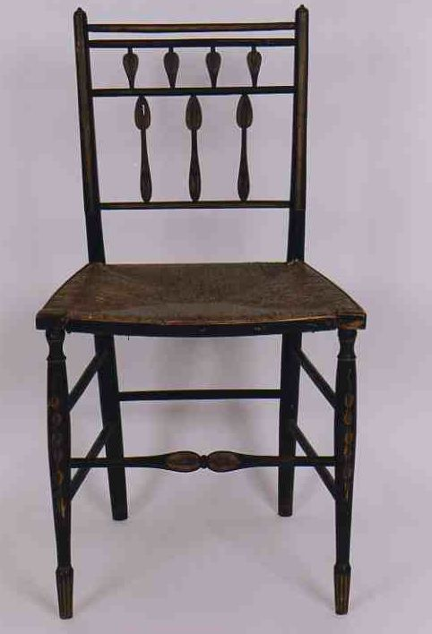 Rare Early 19th Fancy Painted American Salem, Massachusetts Delicate Rush  Seat Side Chair C: 1815 - For Sale - Rare Early 19th Fancy Painted American Salem, Massachusetts Delicate