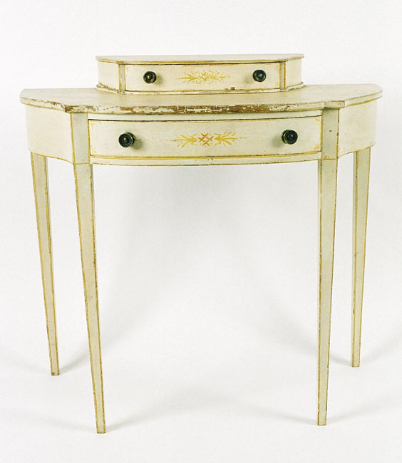 Rare 18th c american federal hepplewhite white painted for White dressing table for sale