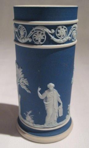 Wedgwood Jasperware Portland Blue Arcadian Spill Vase For Sale