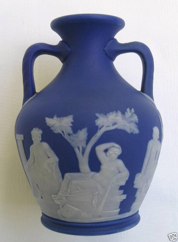 Early Wedgwood Jasper Ware Dark Blue Portland Vase For Sale