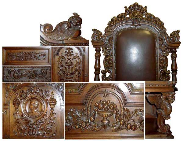 1910 Description:Magnificent Antique Twelve Piece Italian Dining Set In  Figural Carved Walnut. Jacobean Styling With Fruit, Nut, And Figural  Carvings, ...