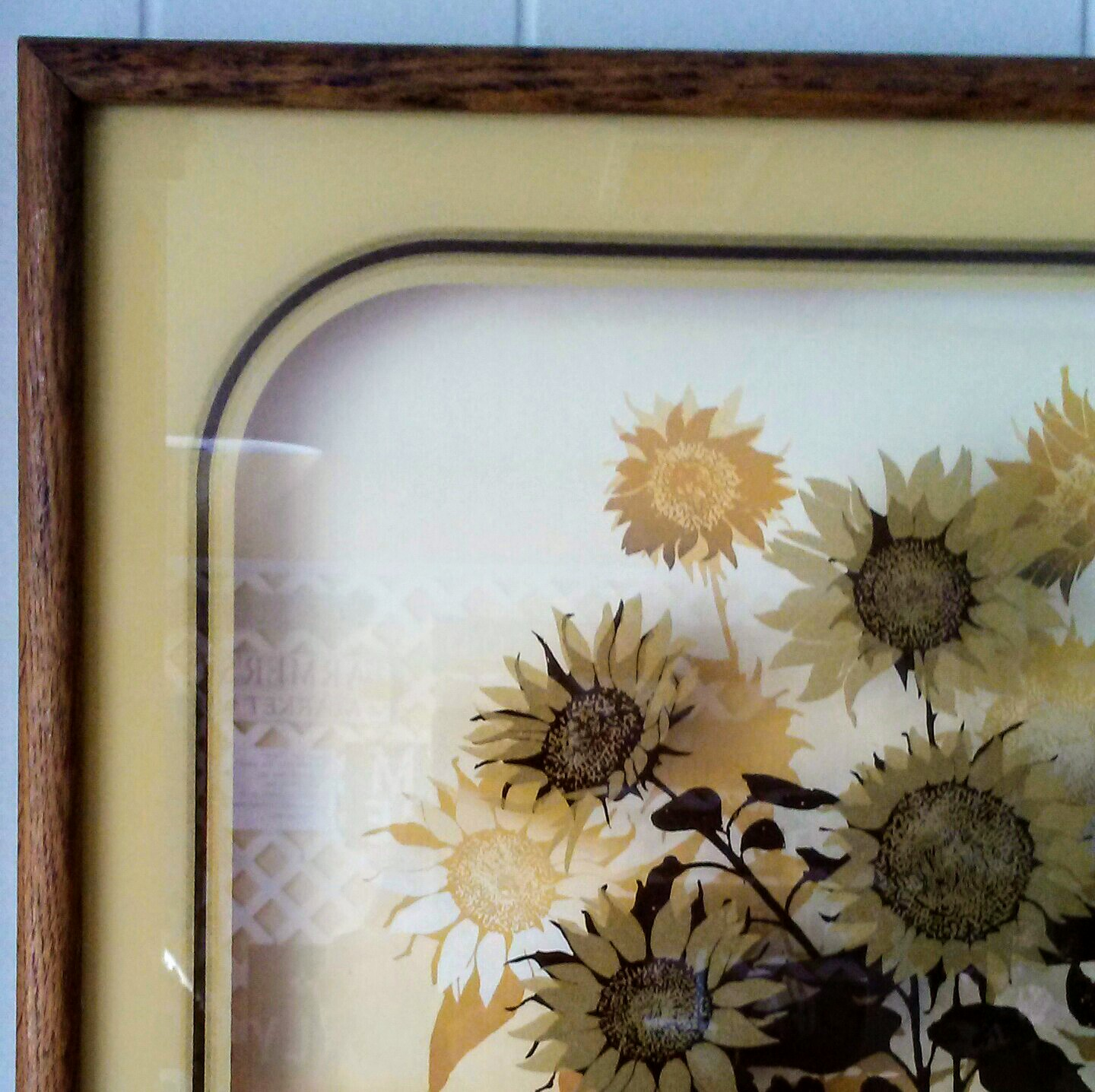Reverse Painted Sunflower Art On Glass With A Scenic Background By Virgil Thrasher This 1970s Vintage Print Is Beauty Gold And Brown