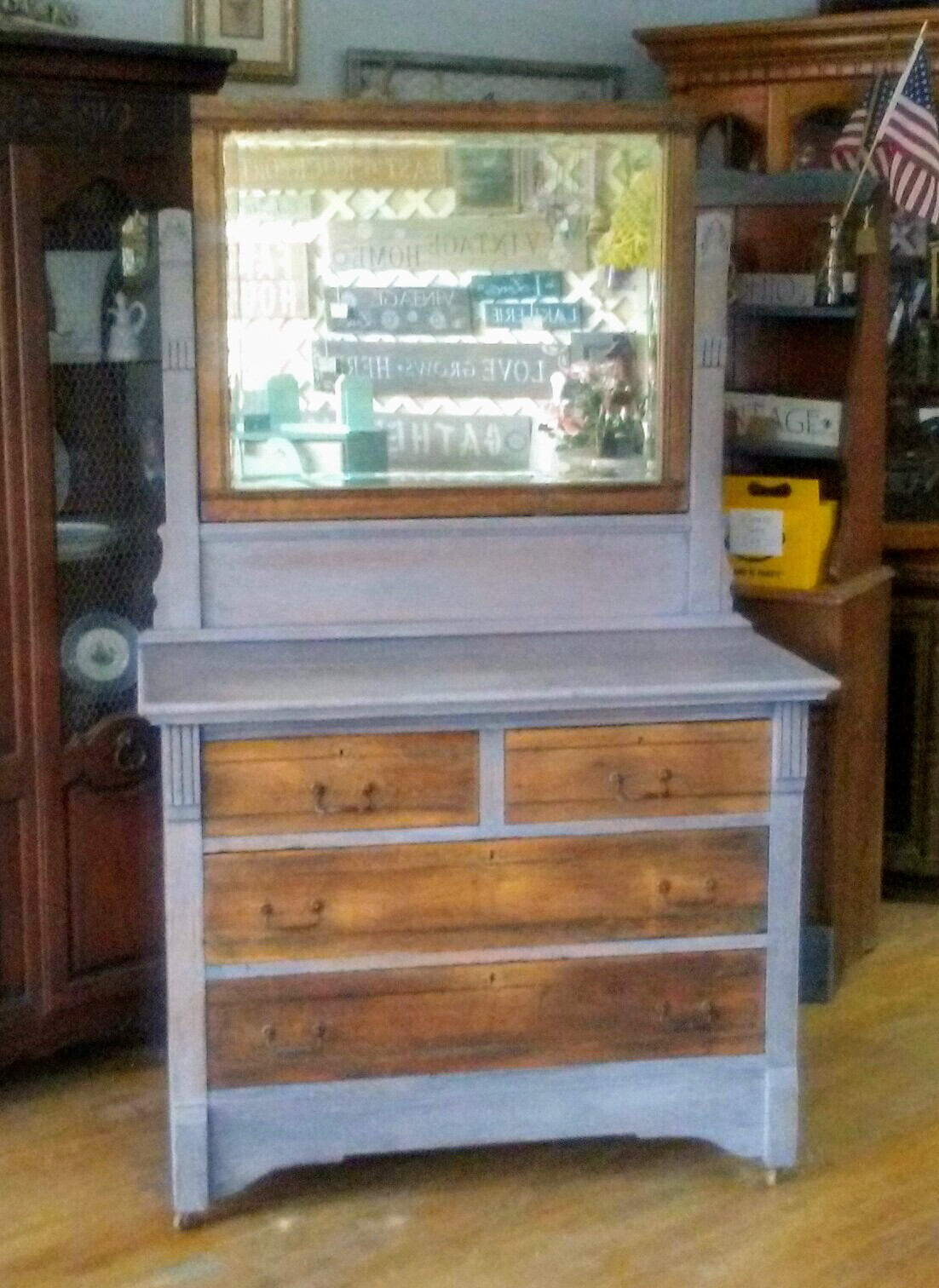 Gray Wash Dresser Mirror Set Antique Dresser Mirror Farmhouse