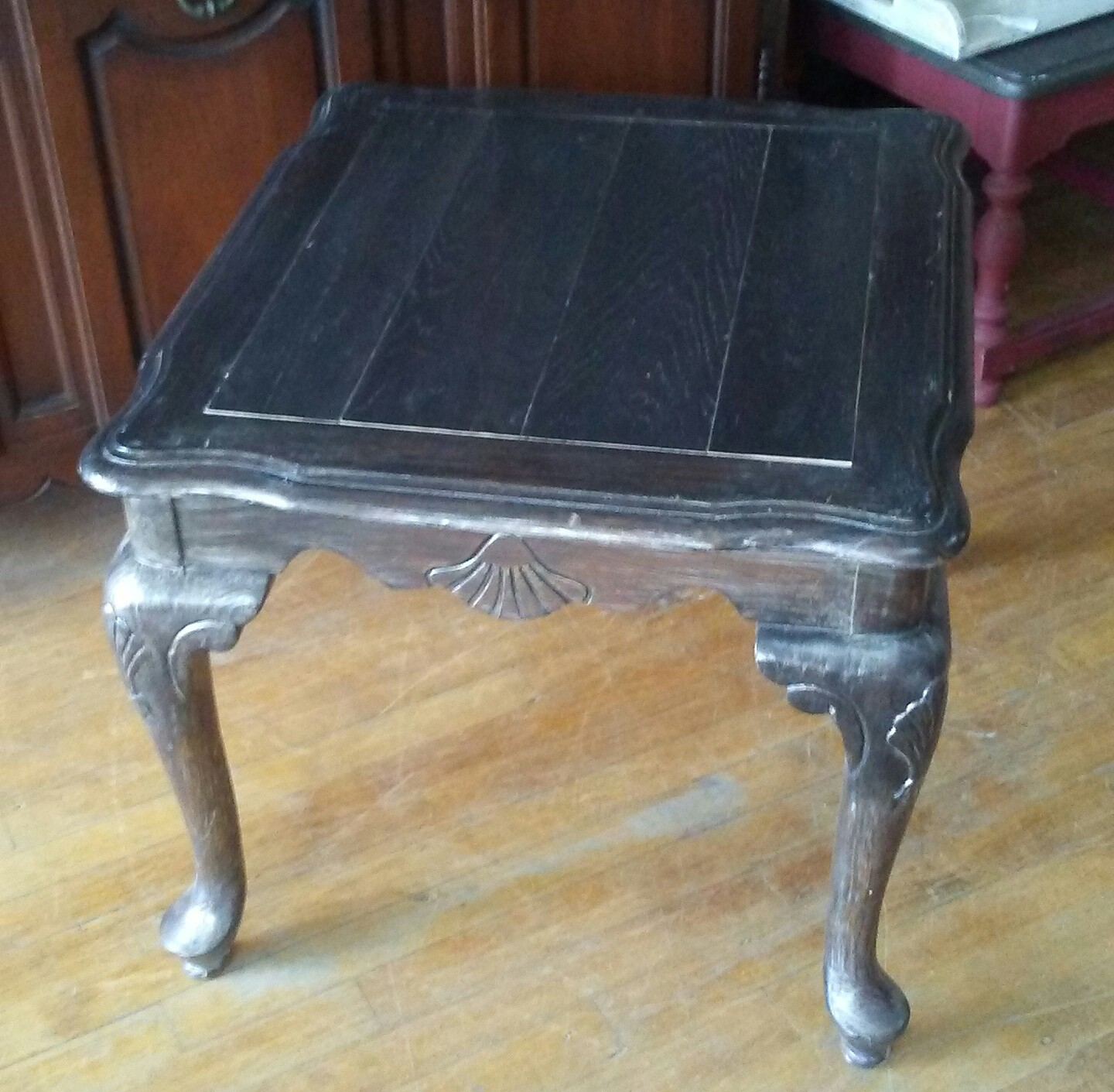 Black Painted End Table French Provincial End Table