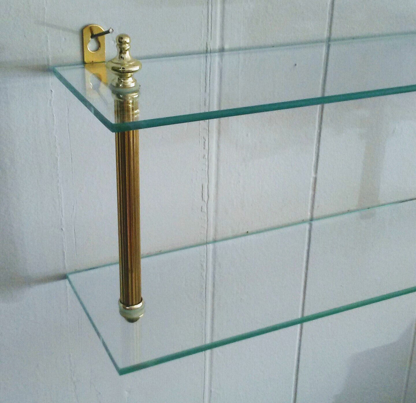 Brass Shelf, Bathroom Shelf, Glass Shelf, Vintage Shelf, Wall Shelf ...
