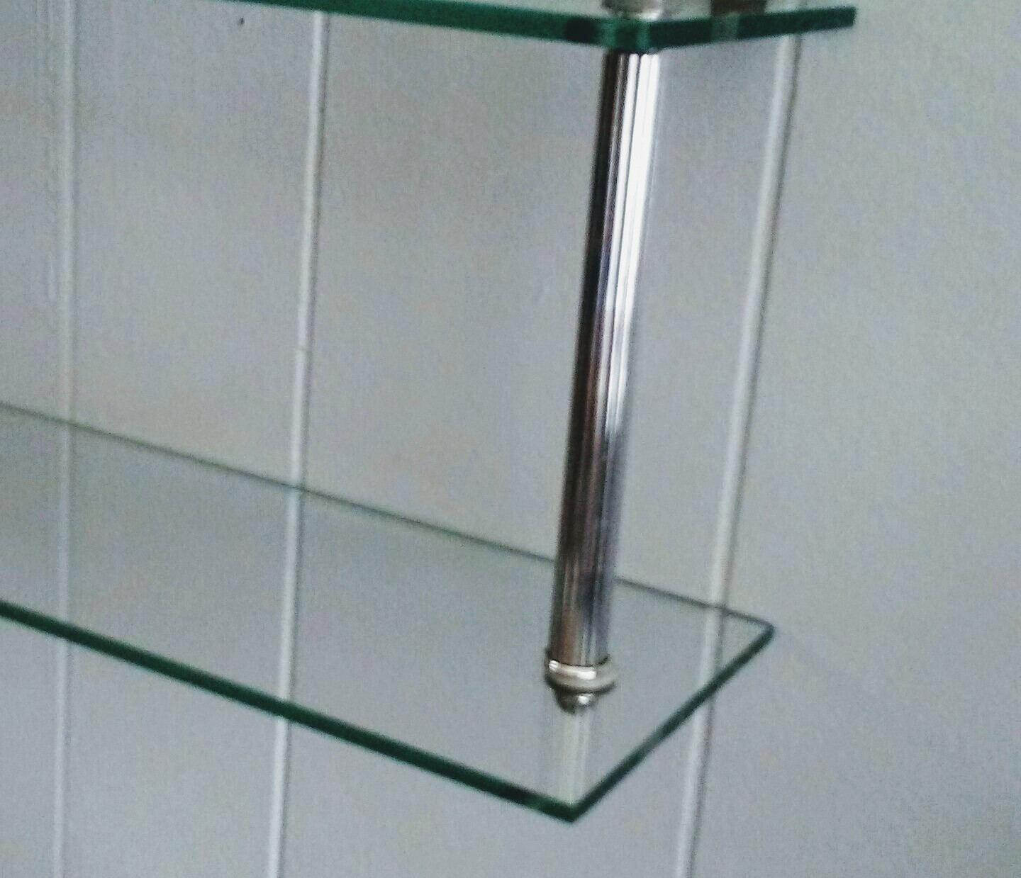 Chrome Glass Shelf, Wall Shelf, Small Glass Shelf, Hollywood Regency ...