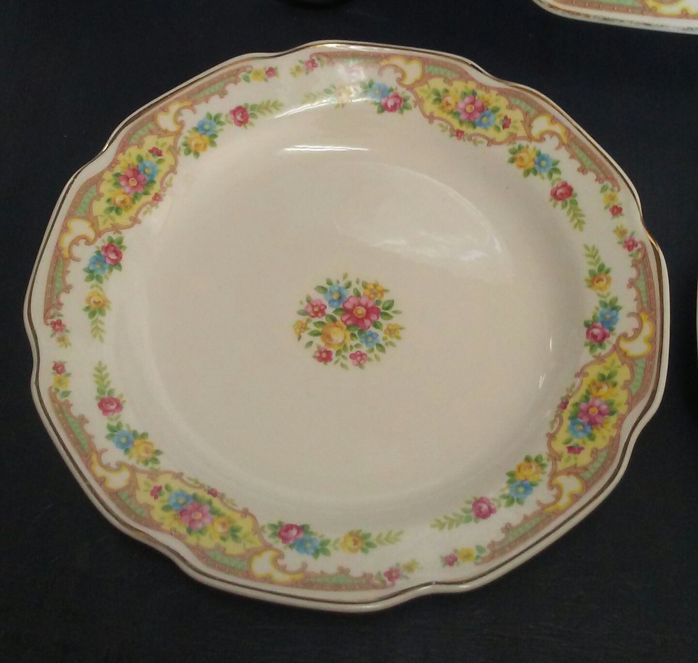 Vintage Mt Clemens plate set. These cream china plates have a lovely tiny floral design and gold trim on a white background and a lovely scalloped edge. & Floral Plate set White china Mt Clemens China China Plates China ...