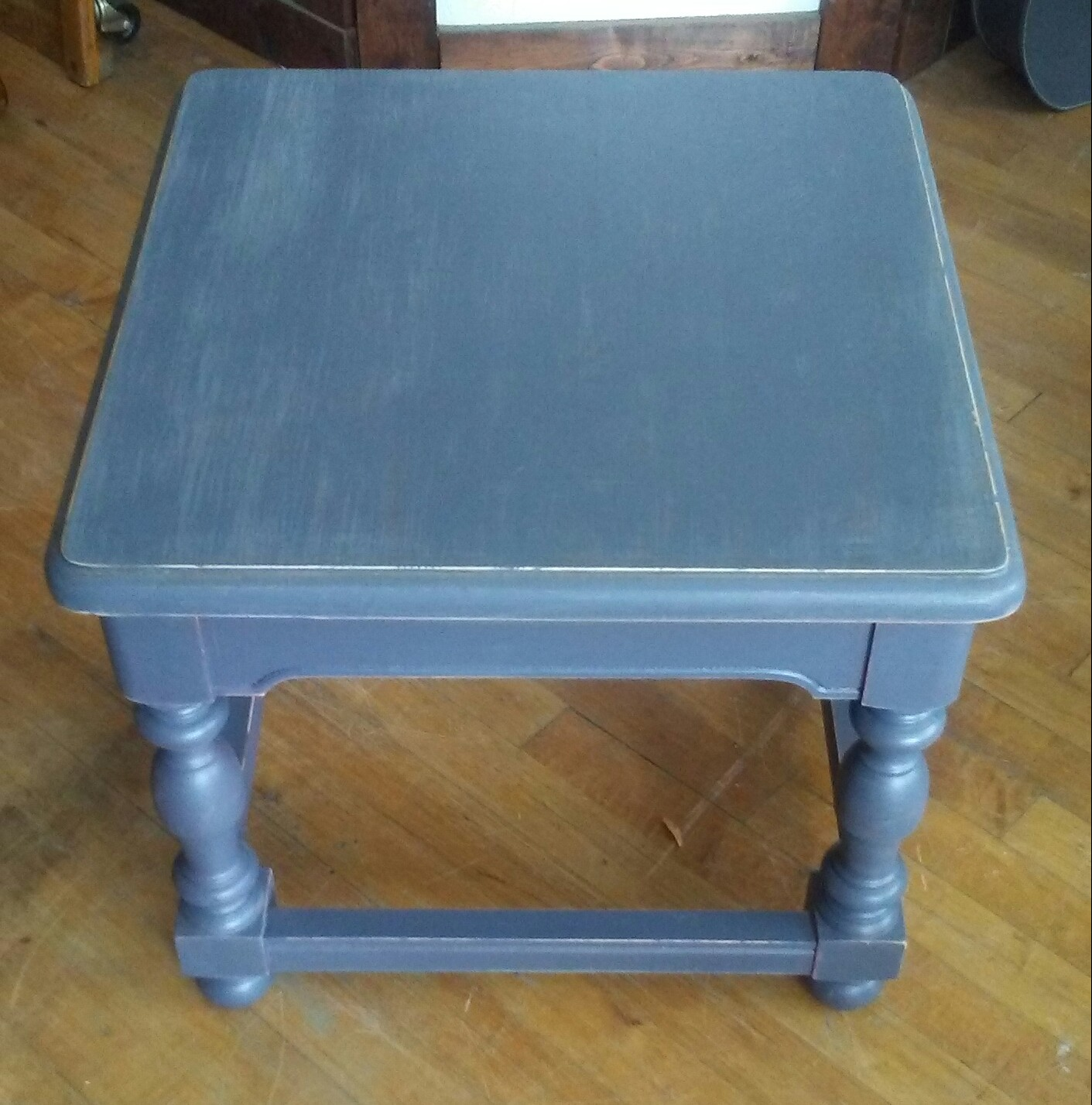 Fabulous Dark Gray Painted End Table Shabby Chic Accent Table For Home Interior And Landscaping Palasignezvosmurscom