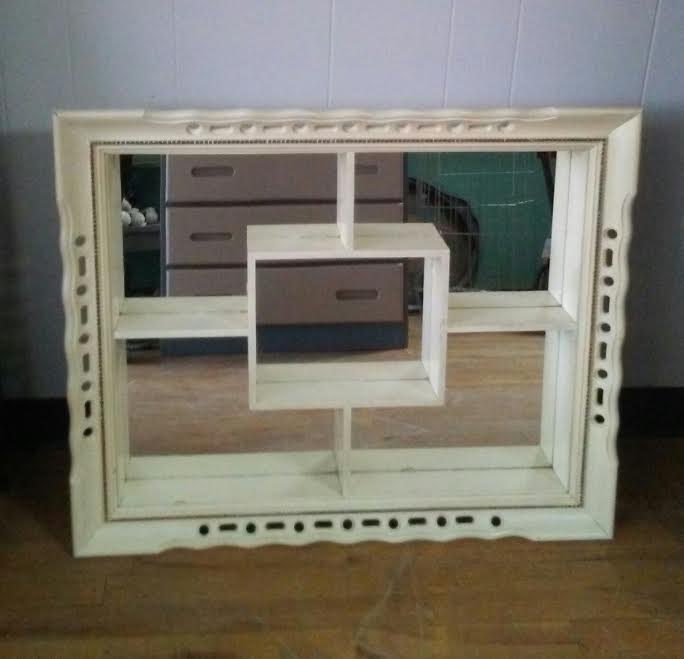 Vintage Shadow Box White Mirror Mid Century Mirror