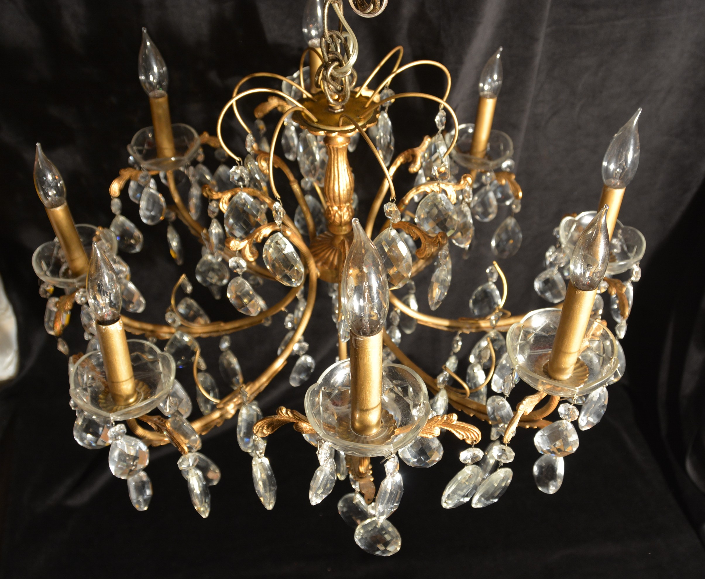 8 light french gold bronze crystal chandelier for sale antiques antique french gold bronze crystal chandelier this impressive chandelier with multi faceted pear shaped crystals has been loved and cared for by our family arubaitofo Choice Image