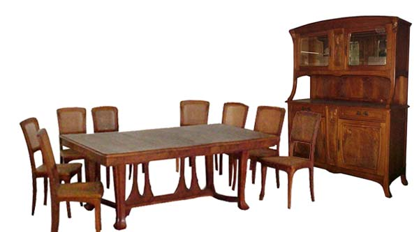 1900 DescriptionFantastic Antique Ten Piece French Art Nouveau Dining Set Including A Large Table With Two Leaves One Sideboard And Eight Chairs