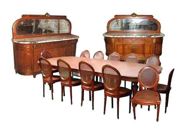 1885 DescriptionFabulous Antique French 15 Piece Empire Dining Suite This Set Is Made Of Oak And Includes A Large Table Twelve Chairs Two