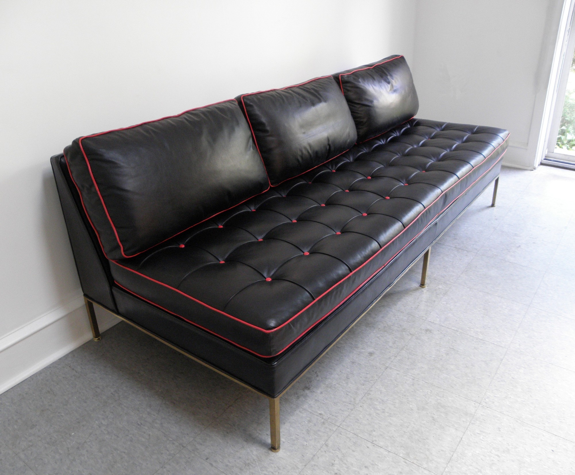 Harvey probber mid century modern brass and leather day for Modern sofas for sale