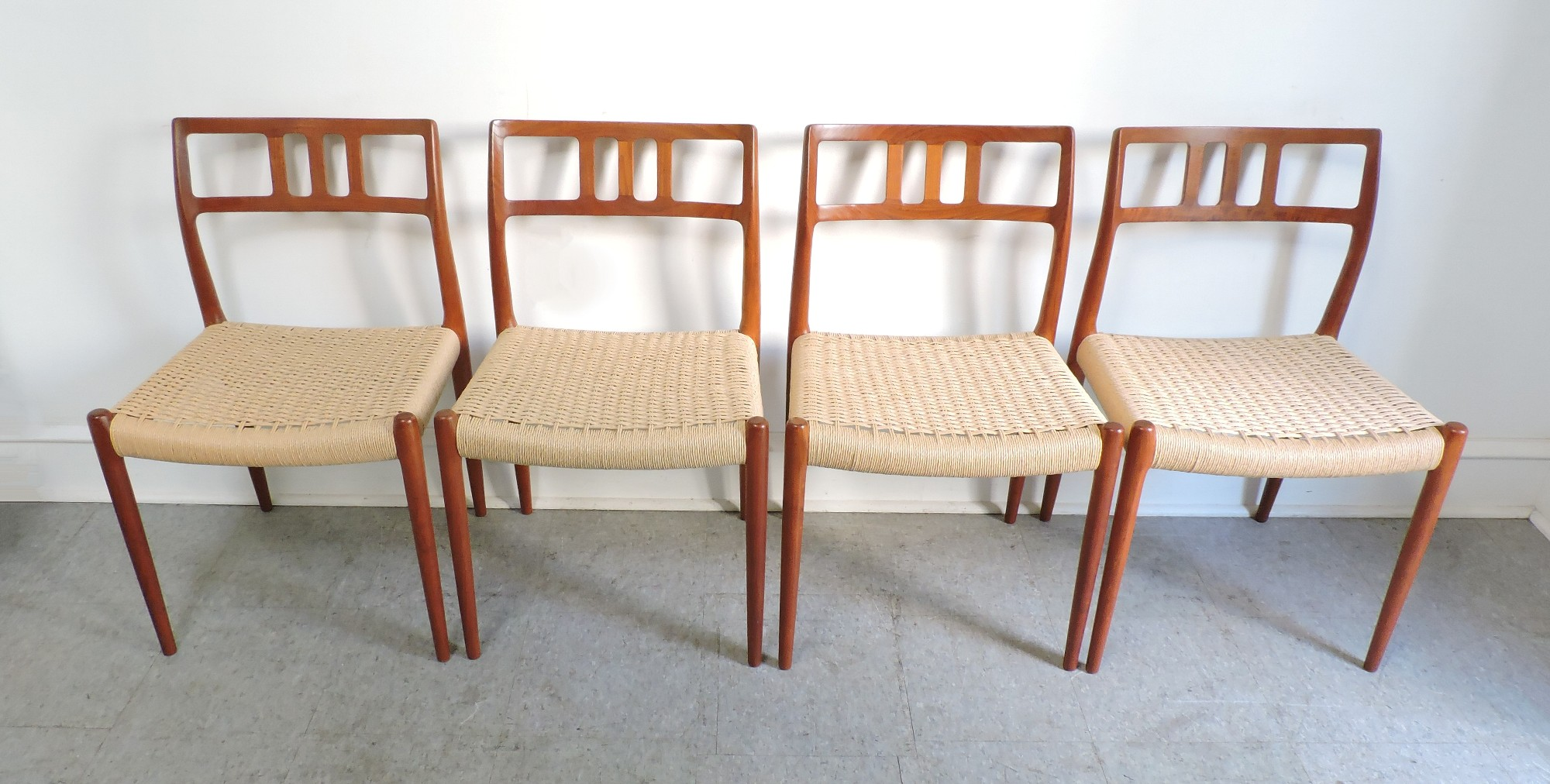 set of 4 danish modern niels moller teak dining chairs 79 for sale