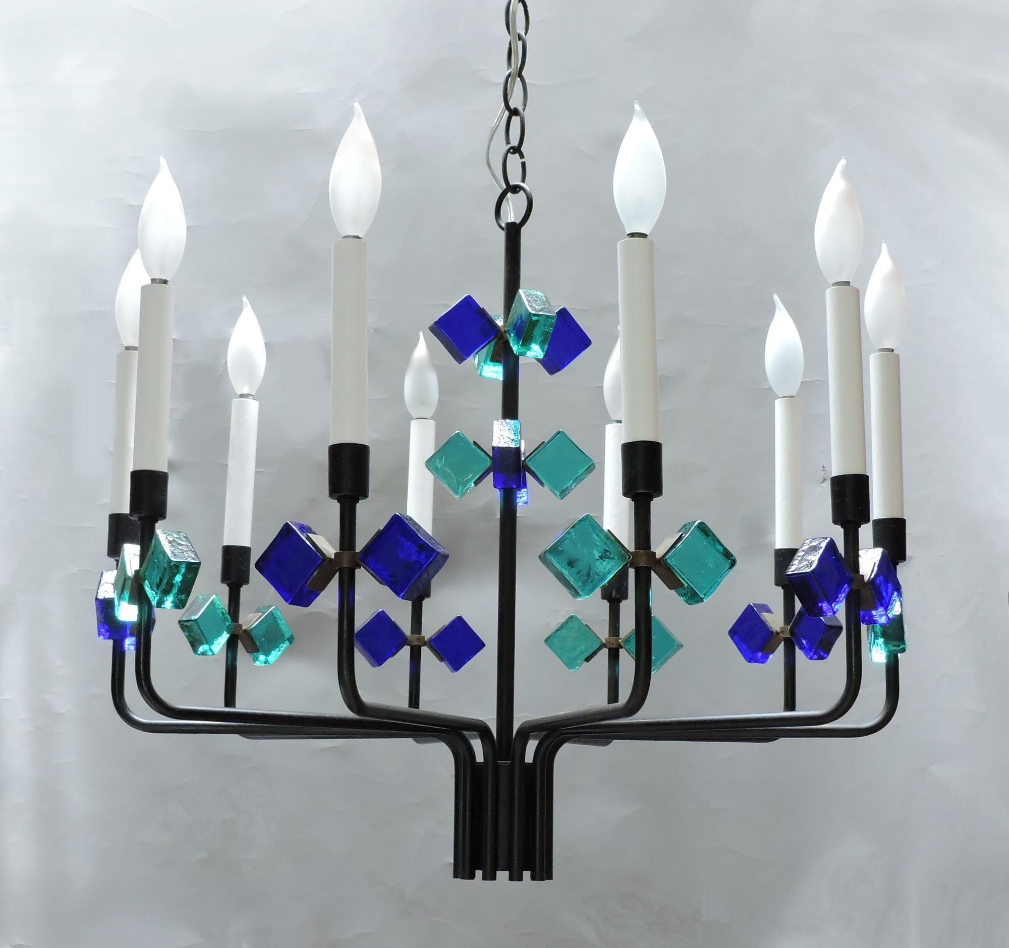 Mid century Danish modern iron and glass chandelier Erik Hoglund