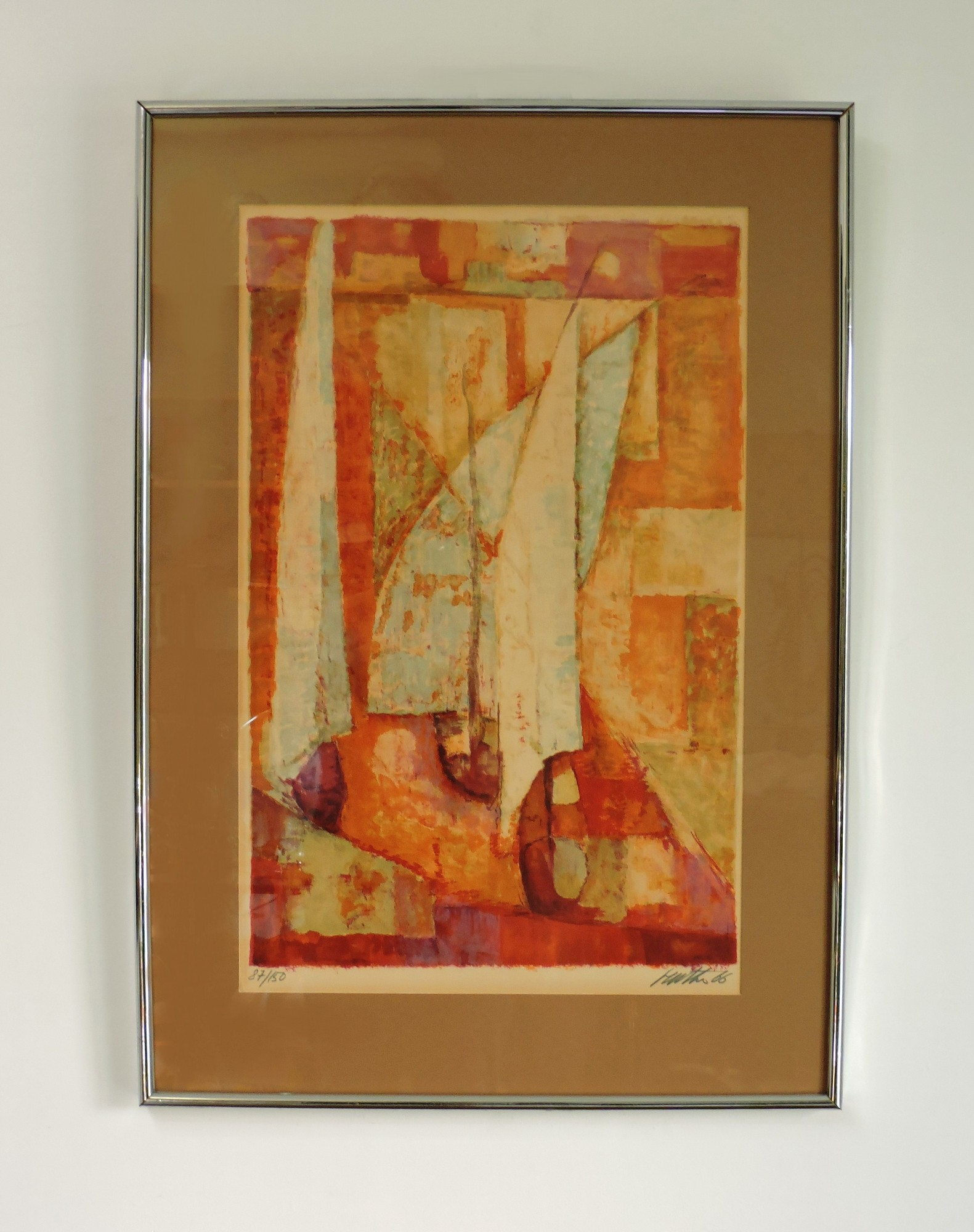 Mid Century Modern Abstract Modernist Sail Boat Print