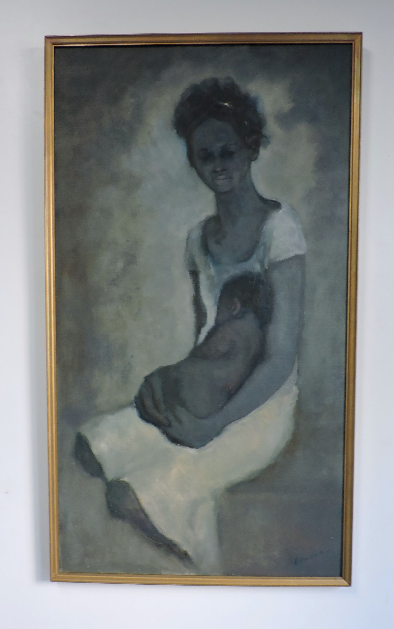 Mid century modern african american mother child art for Artwork on canvas for sale