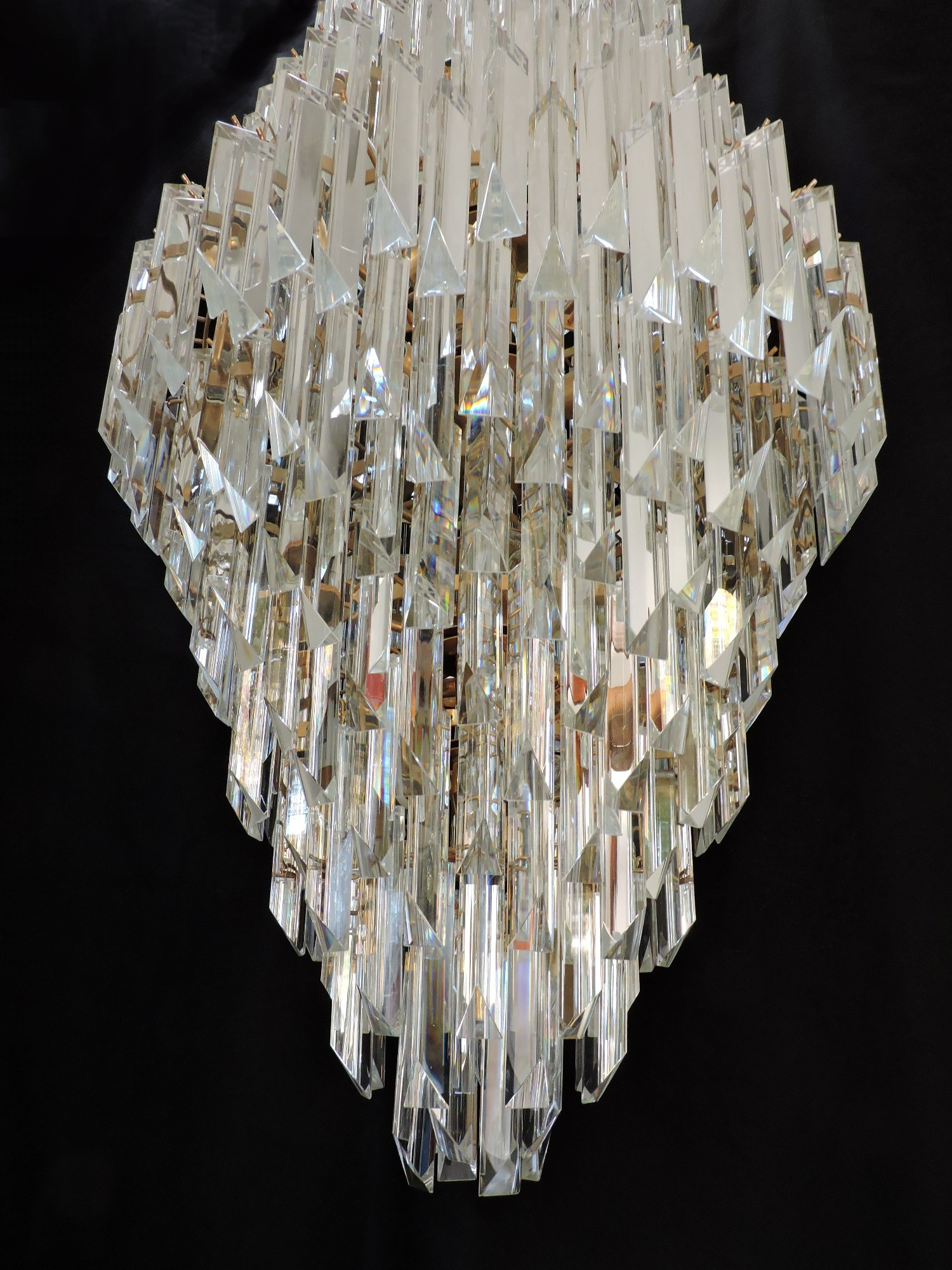 chrome large cascade glass round shop prism drop chandelier smoke