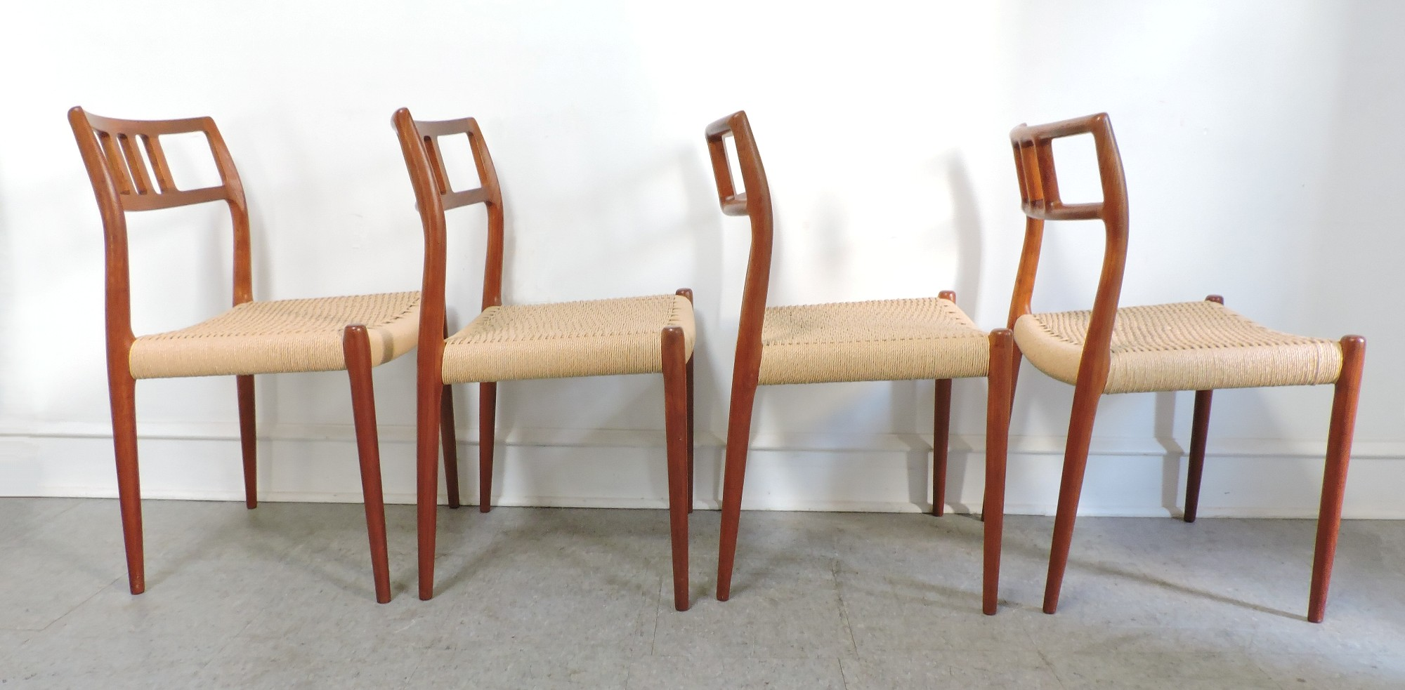 Set Of 4 Danish Modern Niels Moller Teak Dining Chairs 79 For Sale Antique
