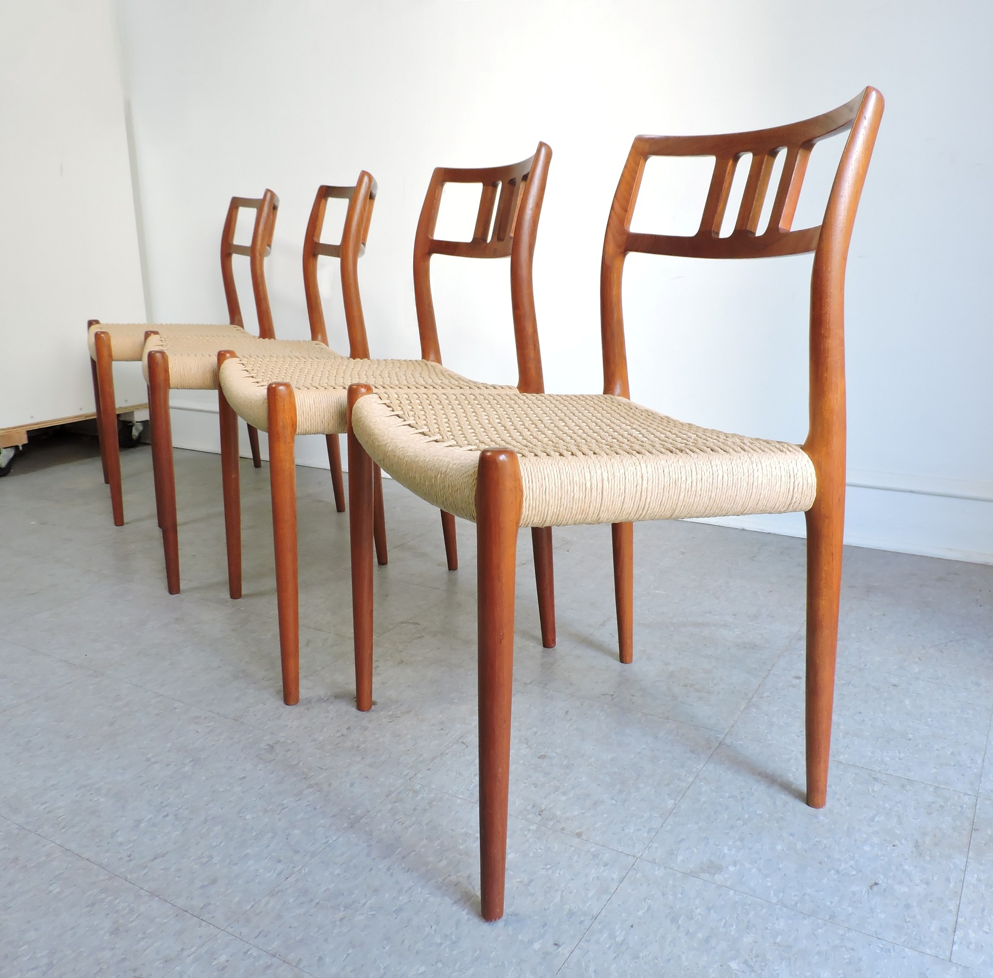 Set Of 4 Danish Modern Niels Moller Teak Dining Chairs #79   For Sale