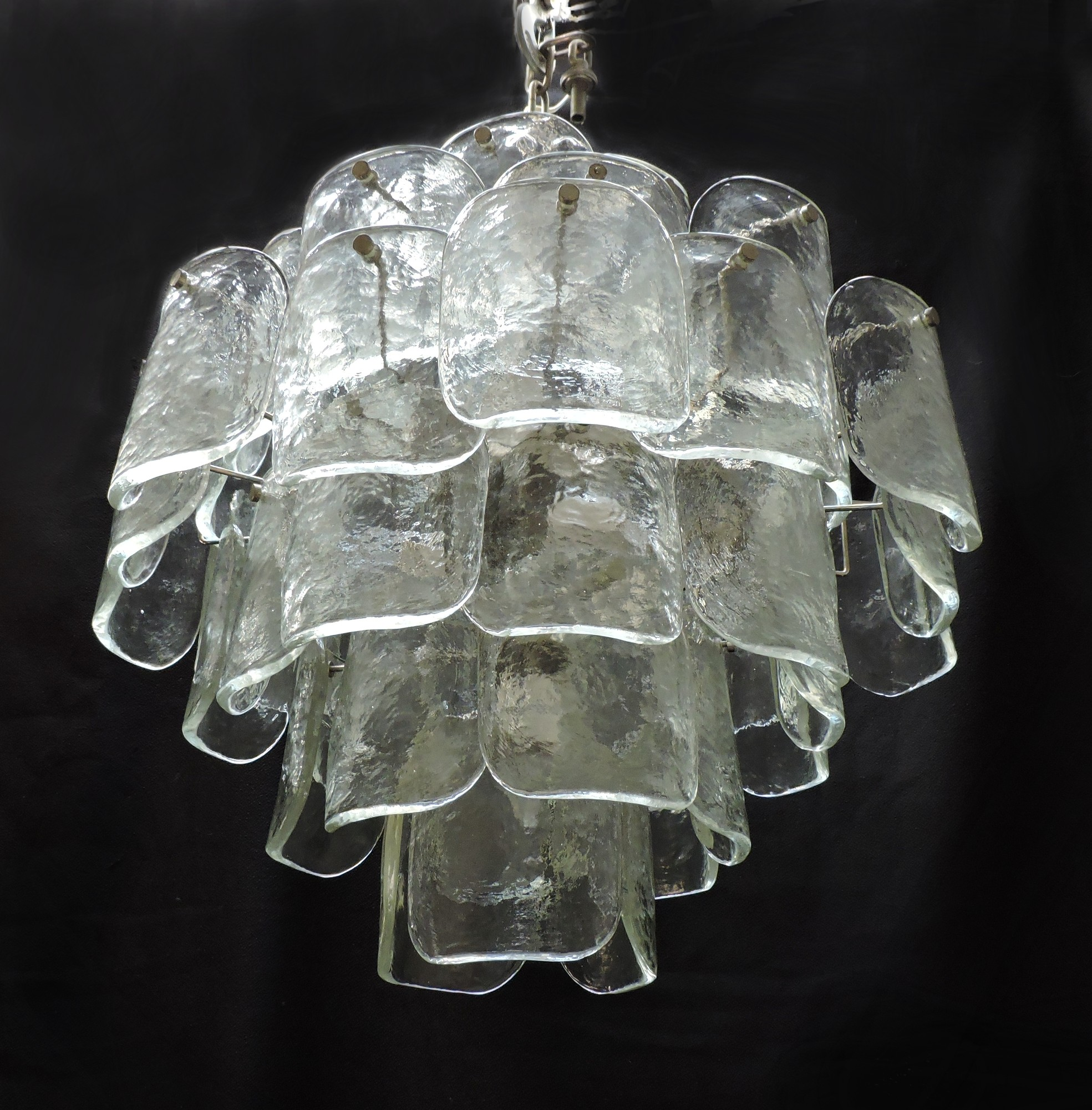 Large mid century italian modern camer glass chandelier murano large and unique chandelier made in italy by high quality lighting manufacturer camer this beautiful chandelier has 49 textured and thick clear glass arubaitofo Images