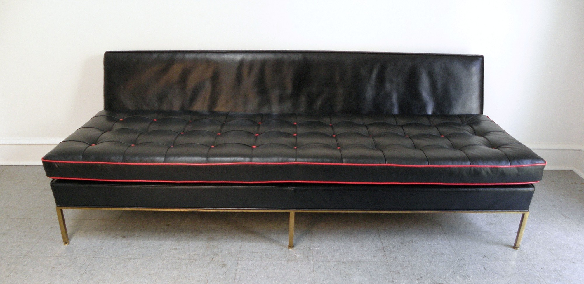 Harvey Probber mid century modern brass and leather day bed sofa