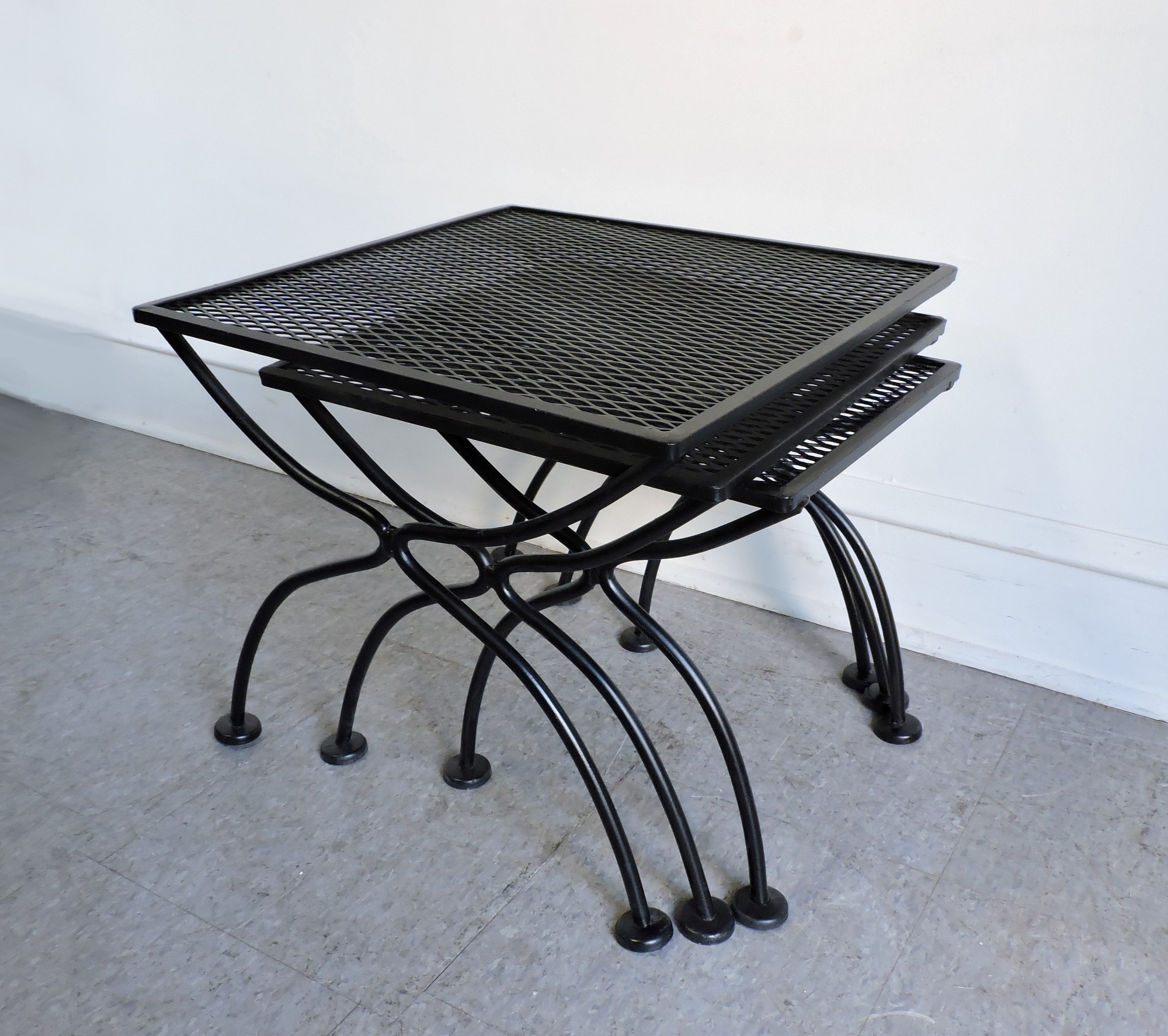 Marvelous Beautiful Set Of 3 Salterini Wrought Iron Nesting Tables For The Patio.  Sturdy And Well Made, These Have A Fresh Coat Of Black Paint.
