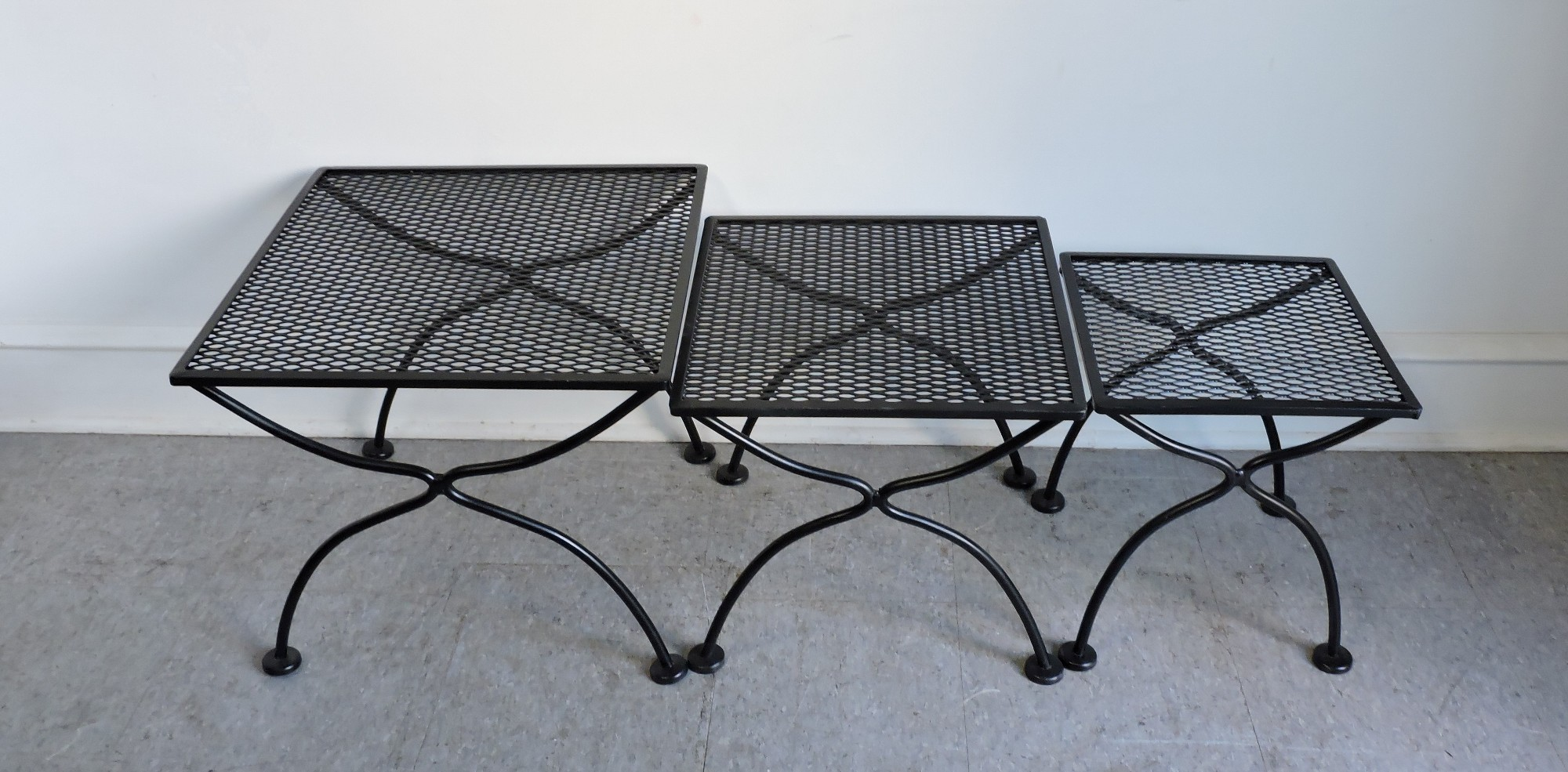Beautiful Set Of 3 Salterini Wrought Iron Nesting Tables For The Patio Sy And Well Made These Have A Fresh Coat Black Paint