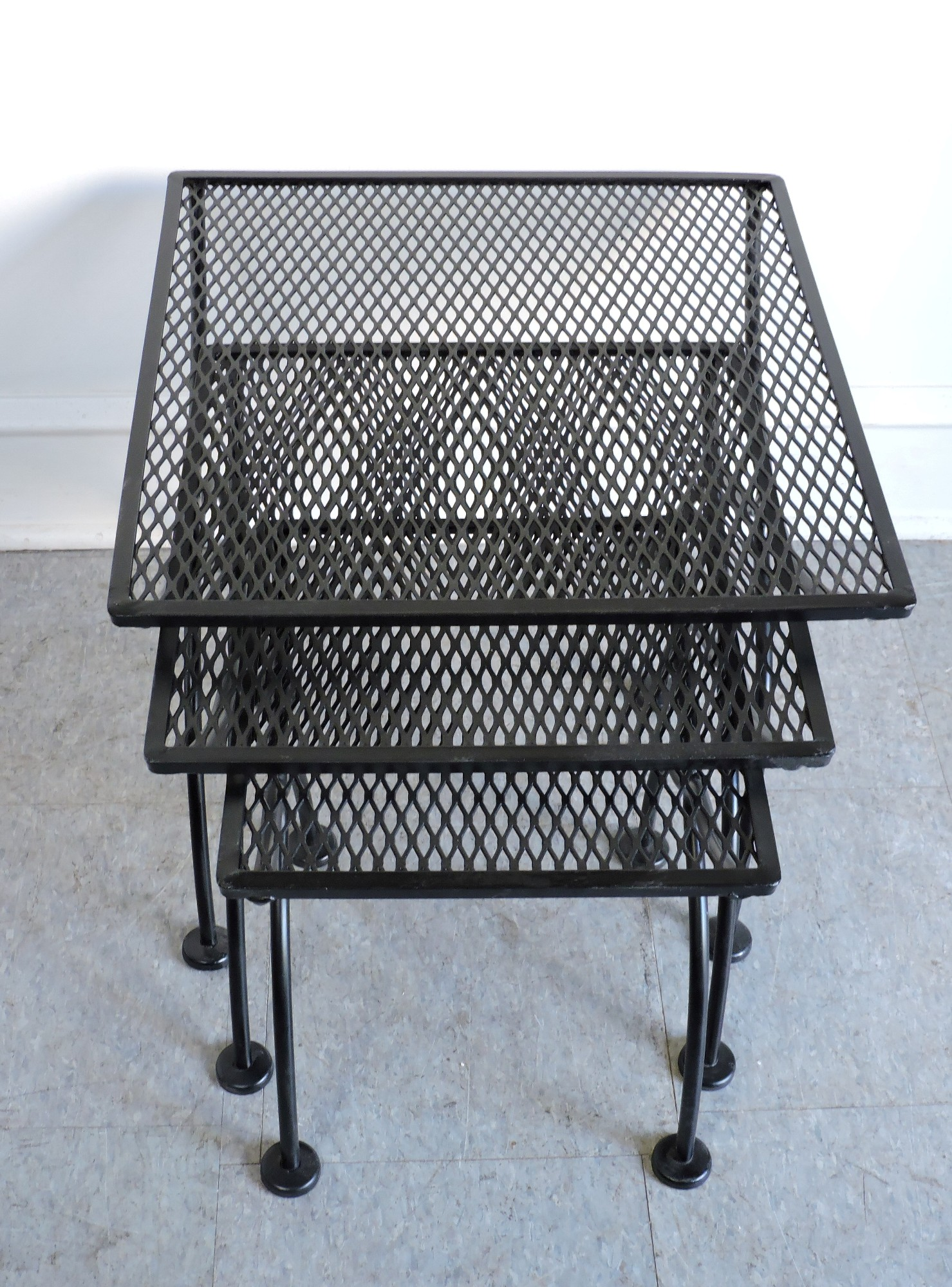 Salterini mid century modern wrought iron patio nesting for Metal patio tables sale