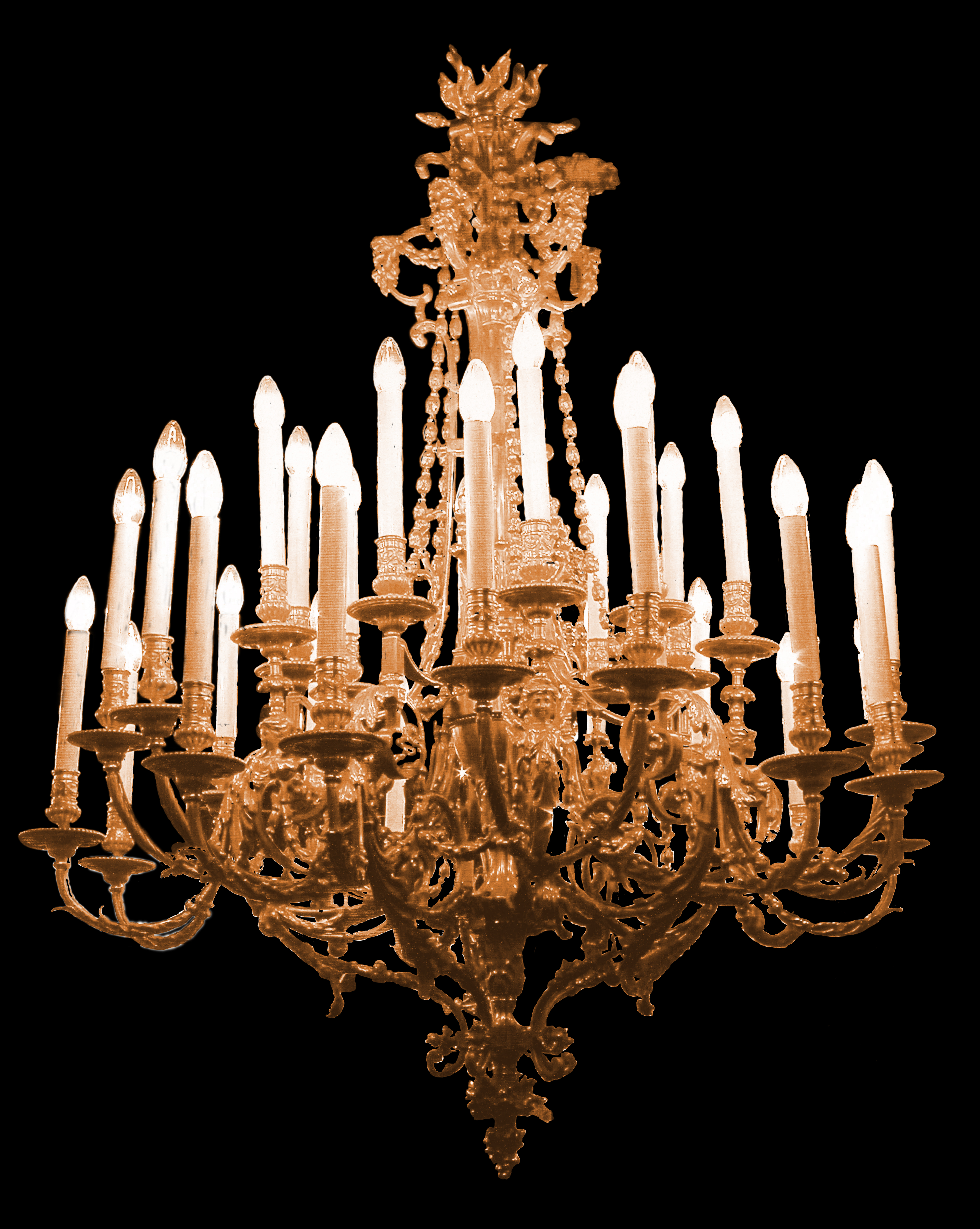 19th Century French Solid Bronze Chandelier (30 Lights) For Sale ...