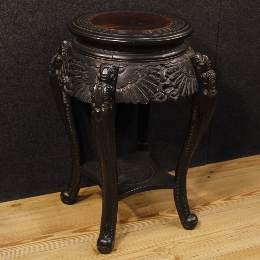 Chinese Side Table In Carved Wood For Sale