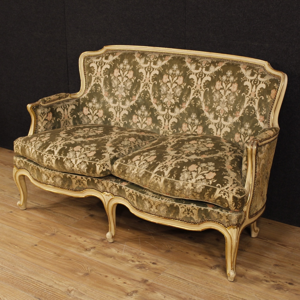 Super Italian Lacquered And Golden Sofa In Damask Velvet For Sale Machost Co Dining Chair Design Ideas Machostcouk