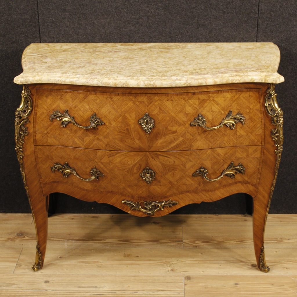 Furniture Richly Decorated With Bronzes And Geometric Inlay In Rosewood In Louis  XV Style. Commode With Two Drawers, Of Good Capacity And Service, ...