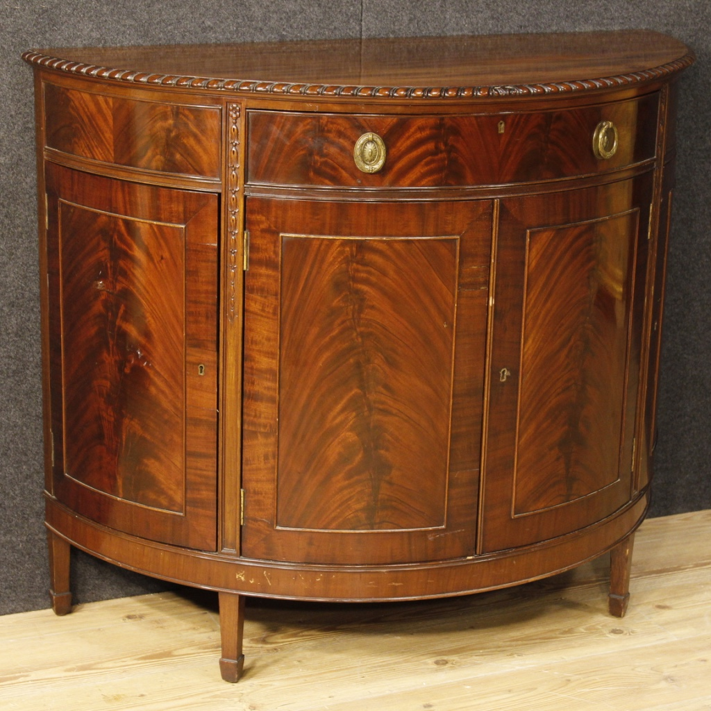 Antique Wooden Sideboards ~ English demilune sideboard in mahogany wood for sale