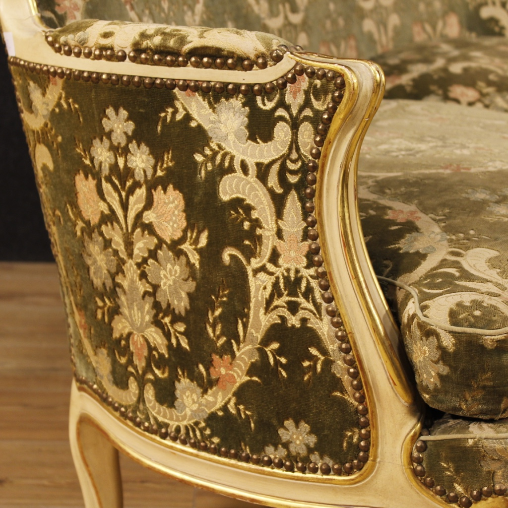 Superb Italian Lacquered And Golden Sofa In Damask Velvet For Sale Machost Co Dining Chair Design Ideas Machostcouk