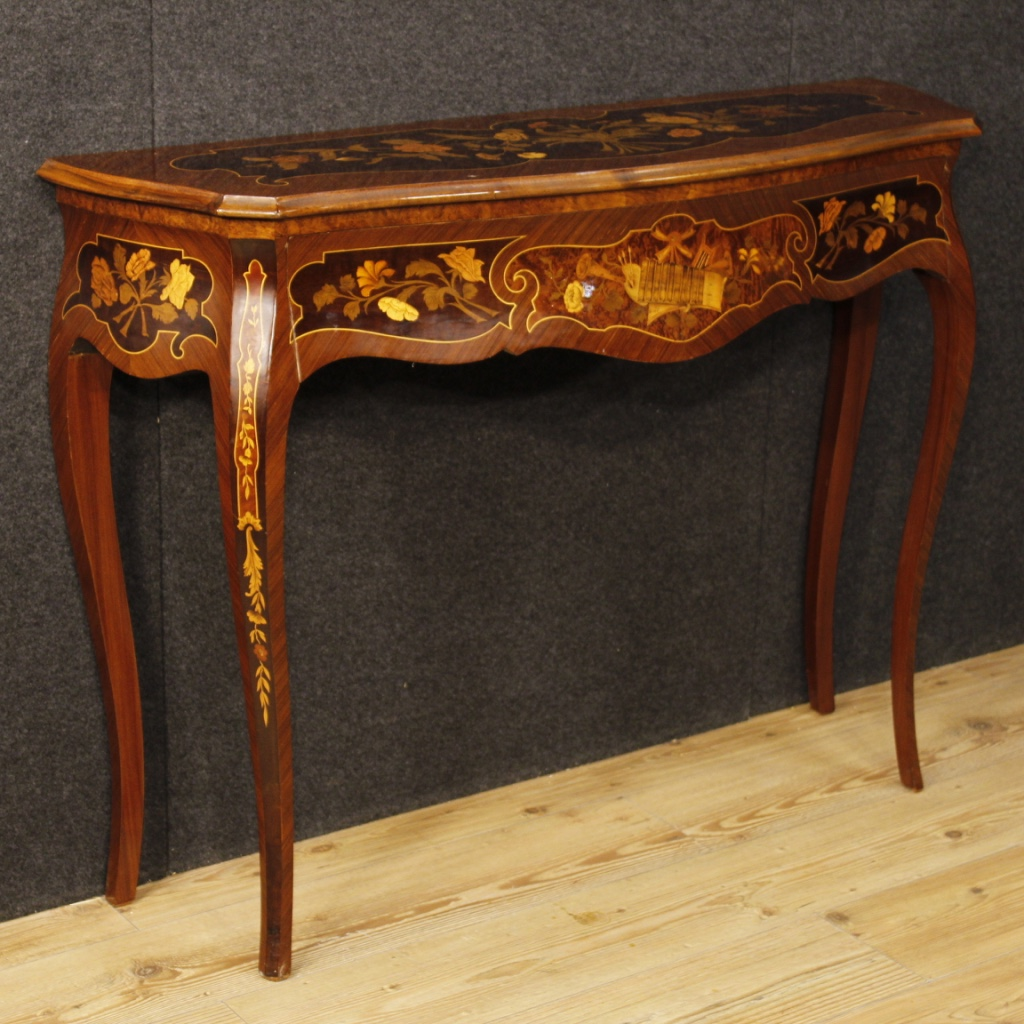Italian Console Table In Inlaid Wood For Sale Antiques