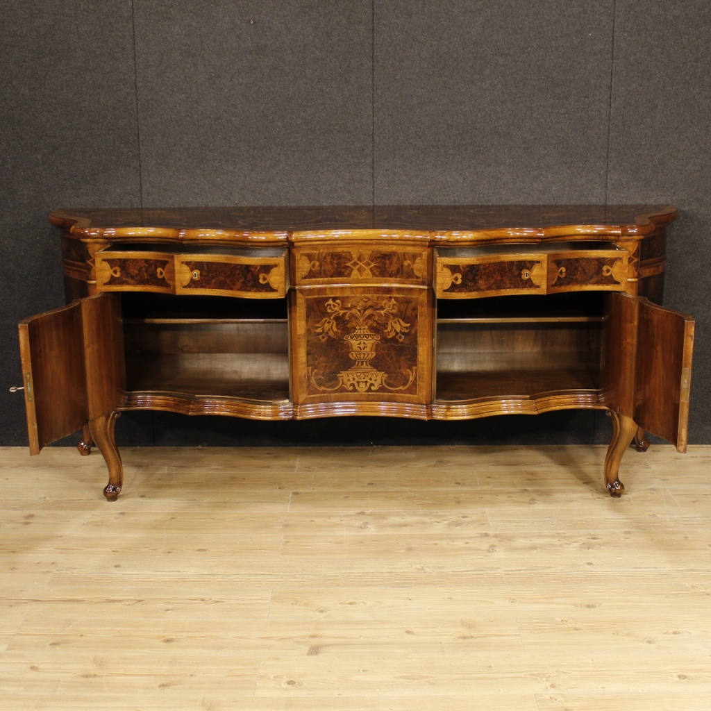 Furniture in richly inlaid in various precious wood, of fabulous  decoration. Sideboard ideal to be inserted in a hall or salon. - Italian Sideboard In Inlaid Wood With Two Doors And Two Drawers For