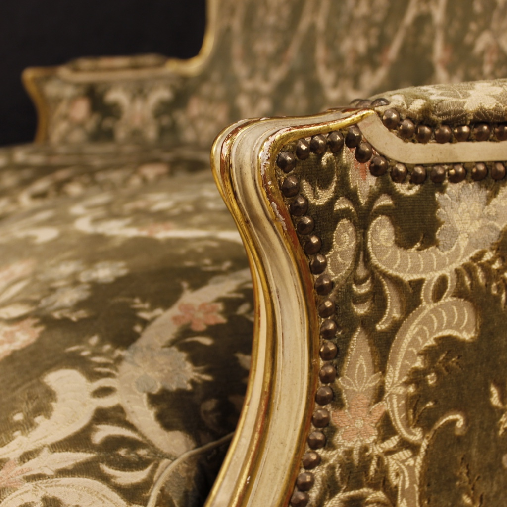Enjoyable Italian Lacquered And Golden Sofa In Damask Velvet For Sale Machost Co Dining Chair Design Ideas Machostcouk