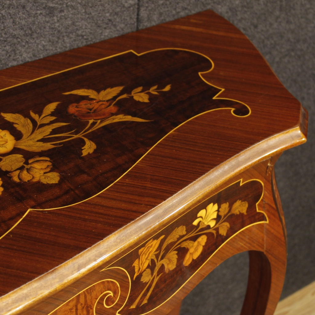 Furniture Richly Decorated With Floral And Musical Instruments Inlay In  Rosewood, Maple, Burl, Tulip Wood And Fruitwood. Console Of Beautiful  Decoration ...
