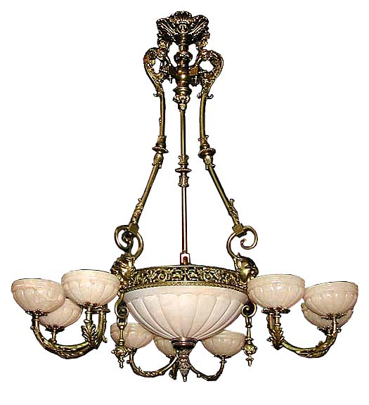 Late 19th c dor bronze victorian chandelier for sale antiques stylevictorian conditionoriginal year19th cte 19th c dore bronze victorian chandelier with original pull down weights and foliate formed arms on a mozeypictures Image collections