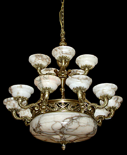 Beautiful Antique French Bronze & Alabaster Chandelier - For Sale - Beautiful Antique French Bronze & Alabaster Chandelier For Sale