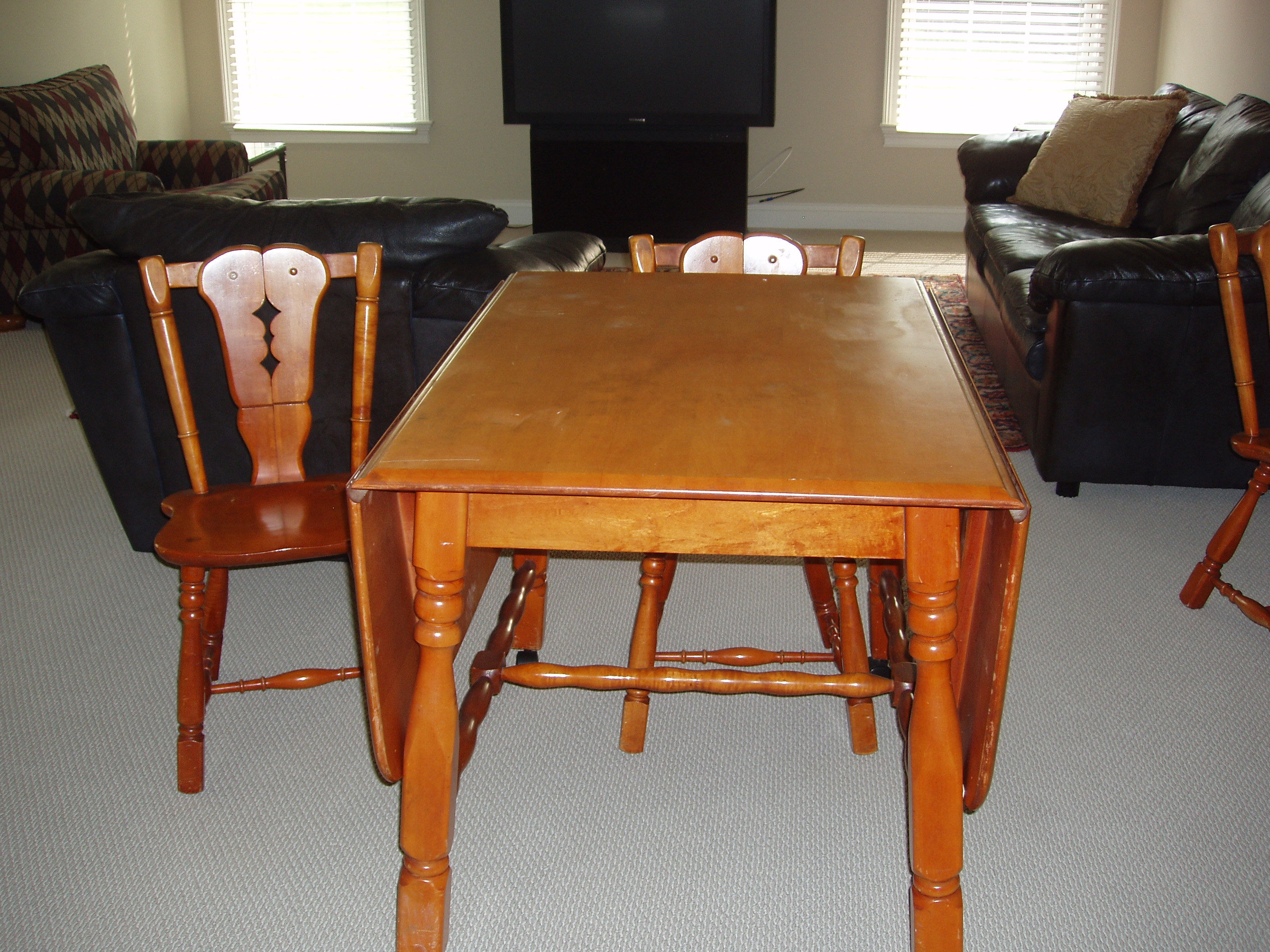 Maple Drop Leaf Table And 4 Chairs For Sale
