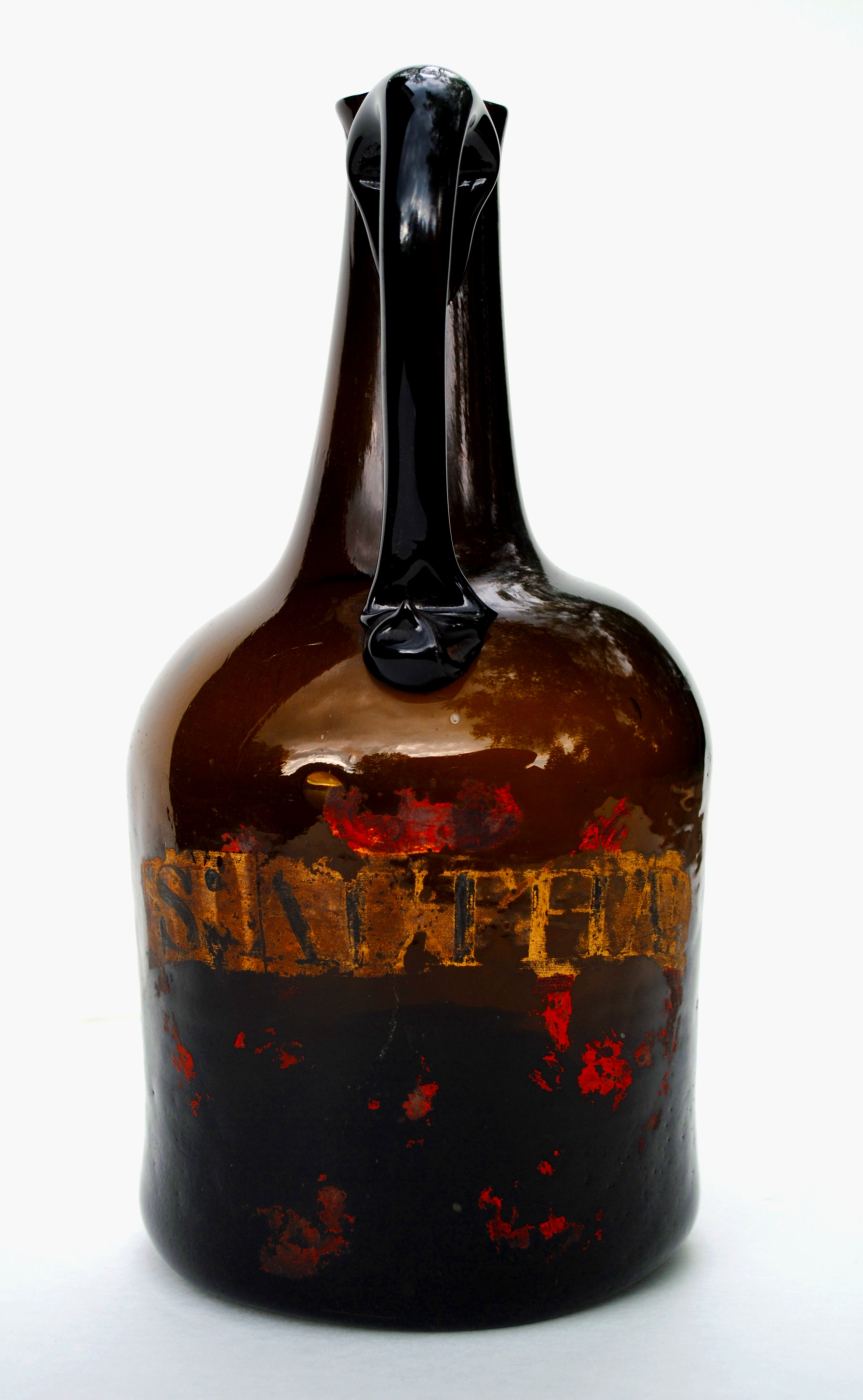 C 1750 BLACK GLASS WINE BOTTLE WITH APPLIED HANDLE. #BG667 ...