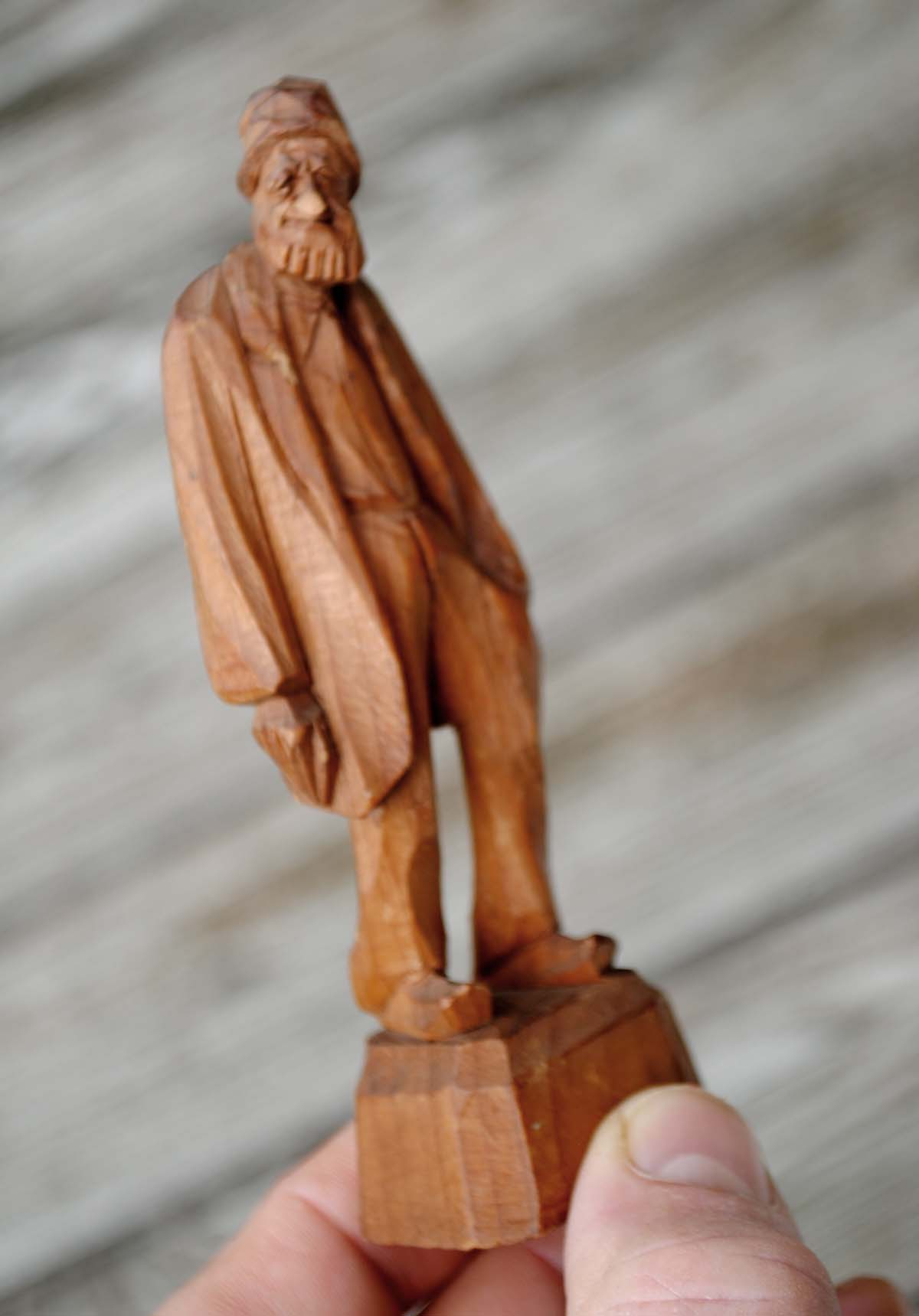 Mid century paul emile caron quebec wood carving old man ws