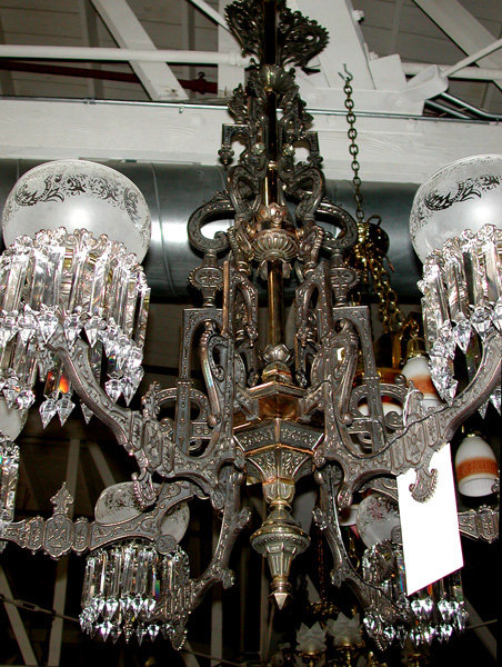 Spectacular American Gas Bronze & Cast Iron Chandelier w/Intricate  Detailing - For Sale - Spectacular American Gas Bronze & Cast Iron Chandelier W/Intricate
