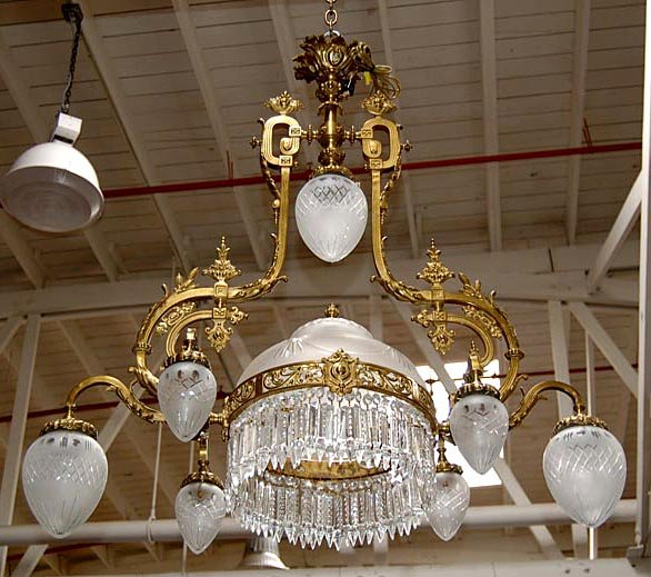 Beautiful American Victorian Chandelier with Crystal Prisms - For Sale - Beautiful American Victorian Chandelier With Crystal Prisms For Sale