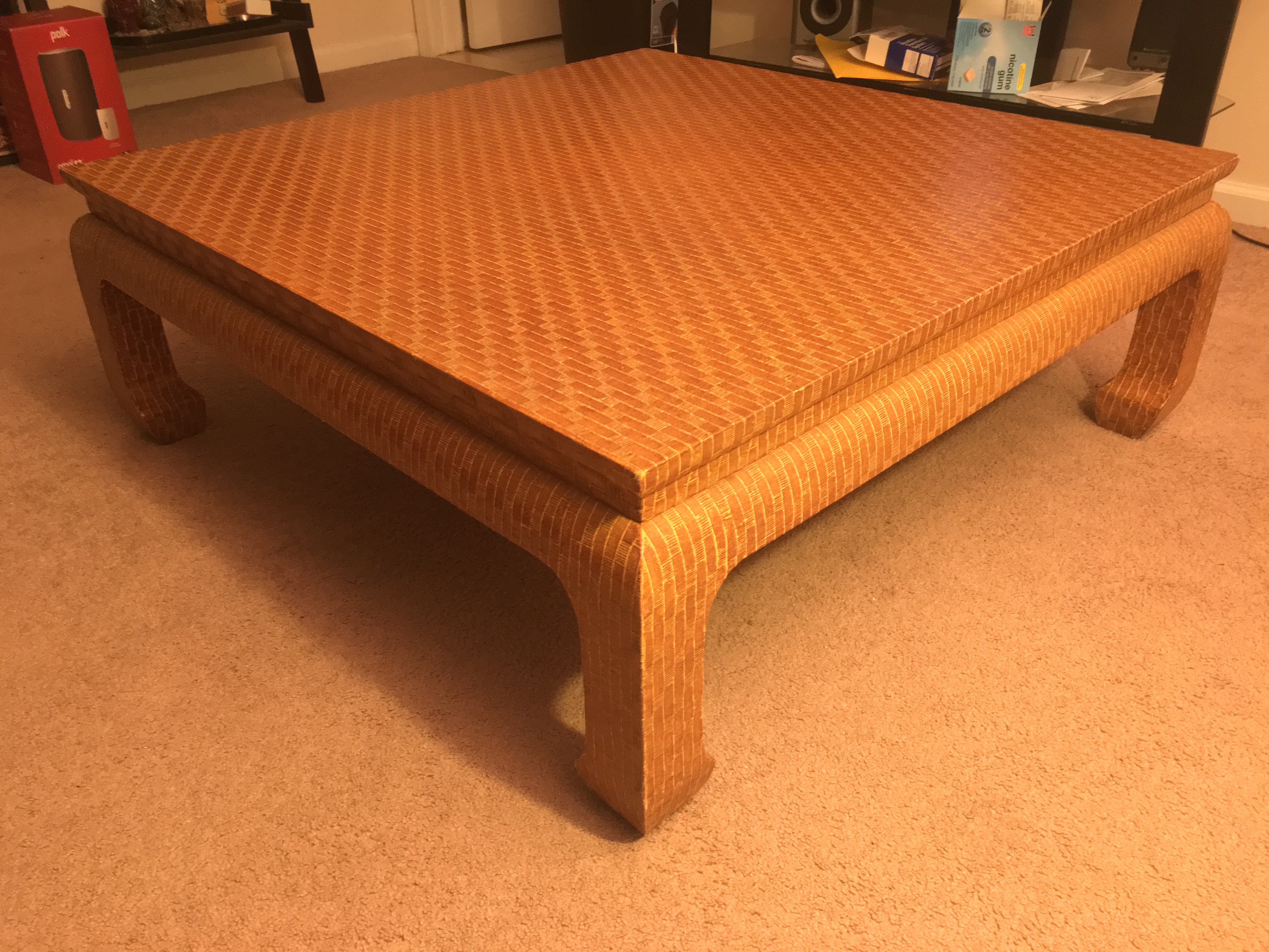 A Vintage Coffee Table, In The Style Of Karl Springer, Produced In The  1970s By Baker Furniture Company. Entirely In Grasscloth, This Piece Was  Designed ...