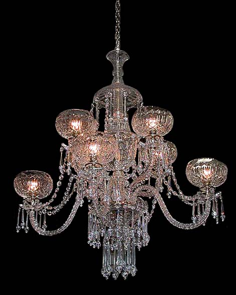 Spectacular 19th c two tier crystal and prism 8 arm for Unique chandeliers for sale